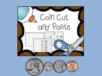 Coin Cut and Paste, Match and Identify Quarter, Dime, Nickel