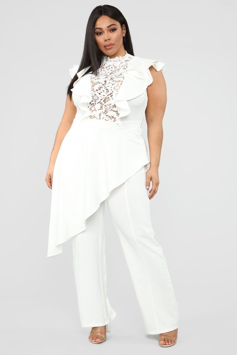 Issa Queen Asymmetrical Jumpsuit - White | Plus size in 2019 ...