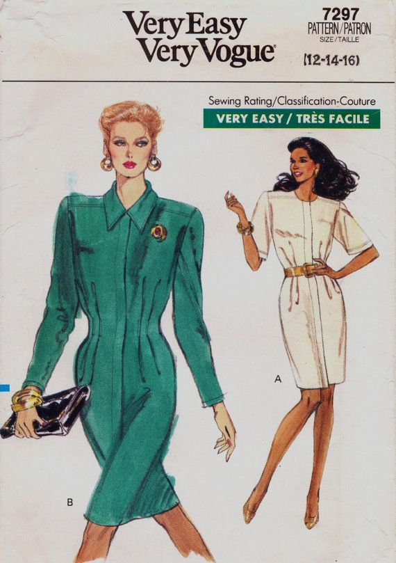 80s Very Easy Very Vogue Pattern 7297 Womens Dress Concealed Button ...