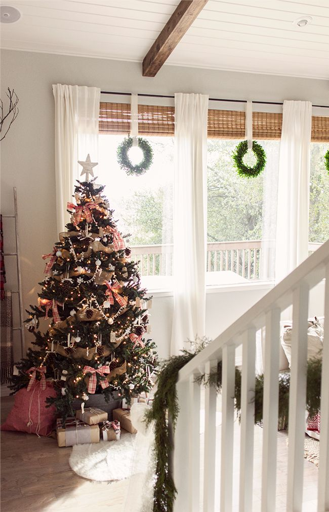 Christmas Home Tour Part 1 Living Room Blinds Holiday House Tours Christmas Home