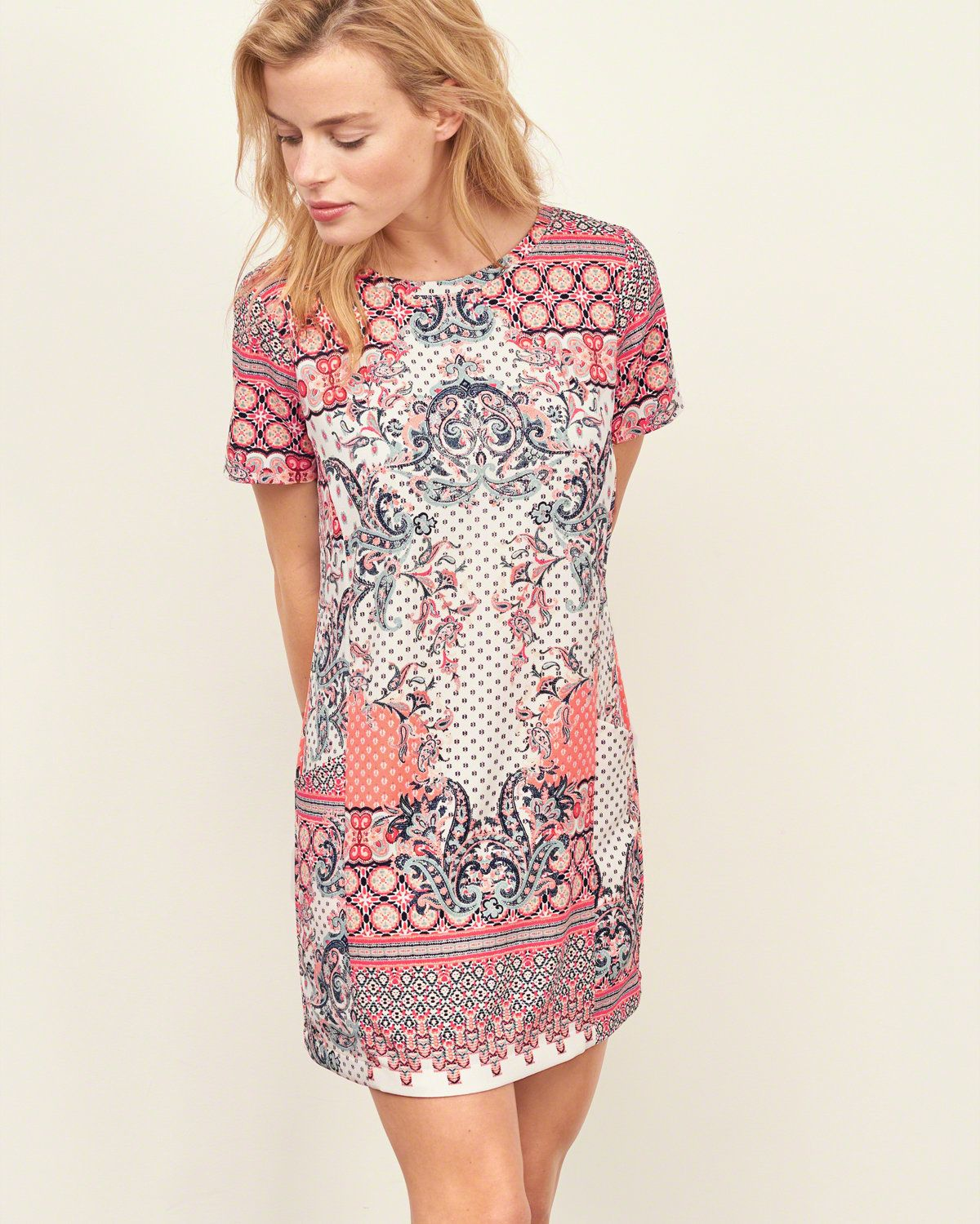 Womens - Crepe Shift Dress | Womens - New Arrivals | eu.Abercrombie.com