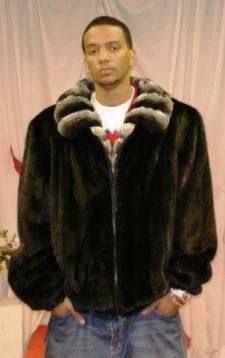 Mens fur Ranch Mink Bomber Jacket Chinchilla Collar $3795 | Mens