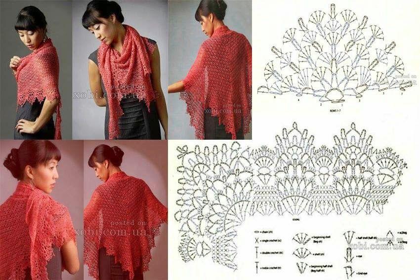 Tina\'s handicraft : scarves | şemalı şal modelleri | Pinterest