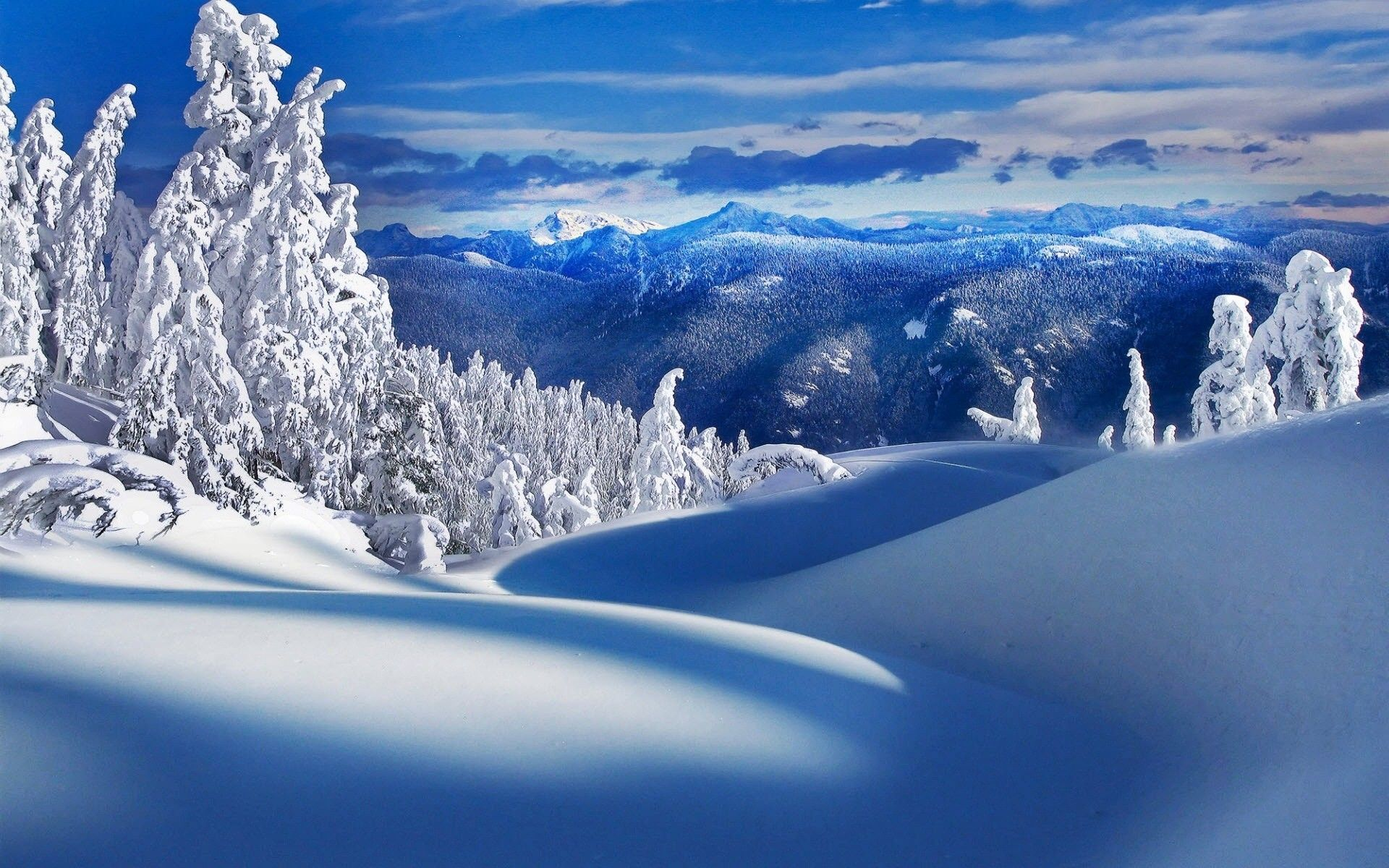 Winter Mountain Scene Desktop Wallpaper Widescreen | Art ...