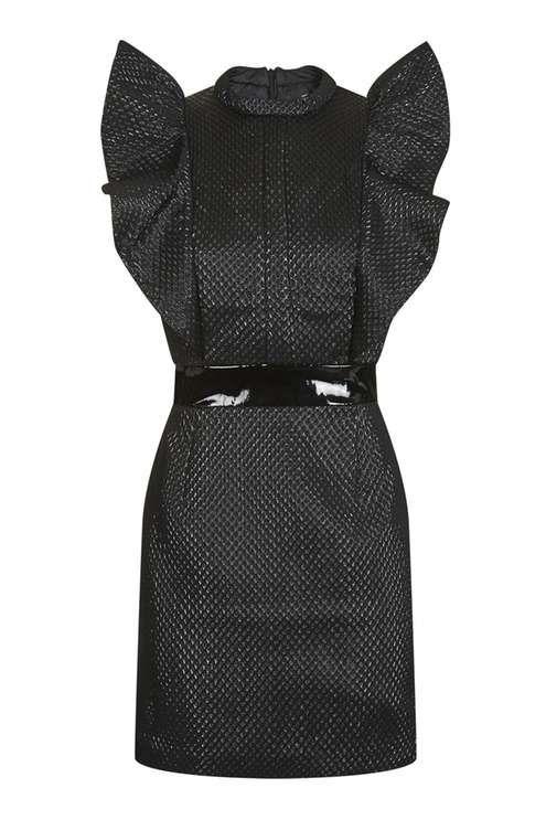80s Ruffle Jacquard Dress
