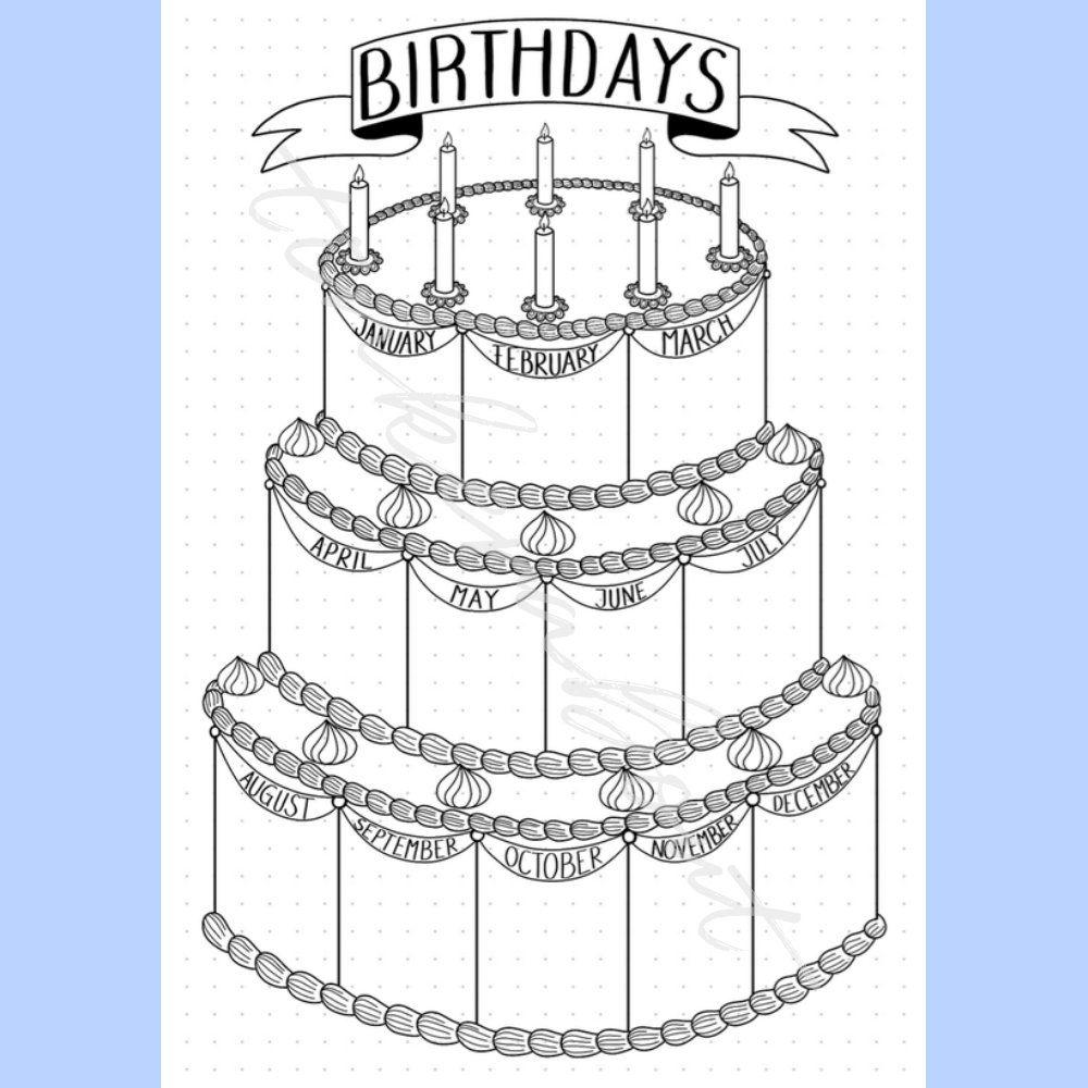 Geburtstagsliste birthday tracker bullet journal printable planner insert