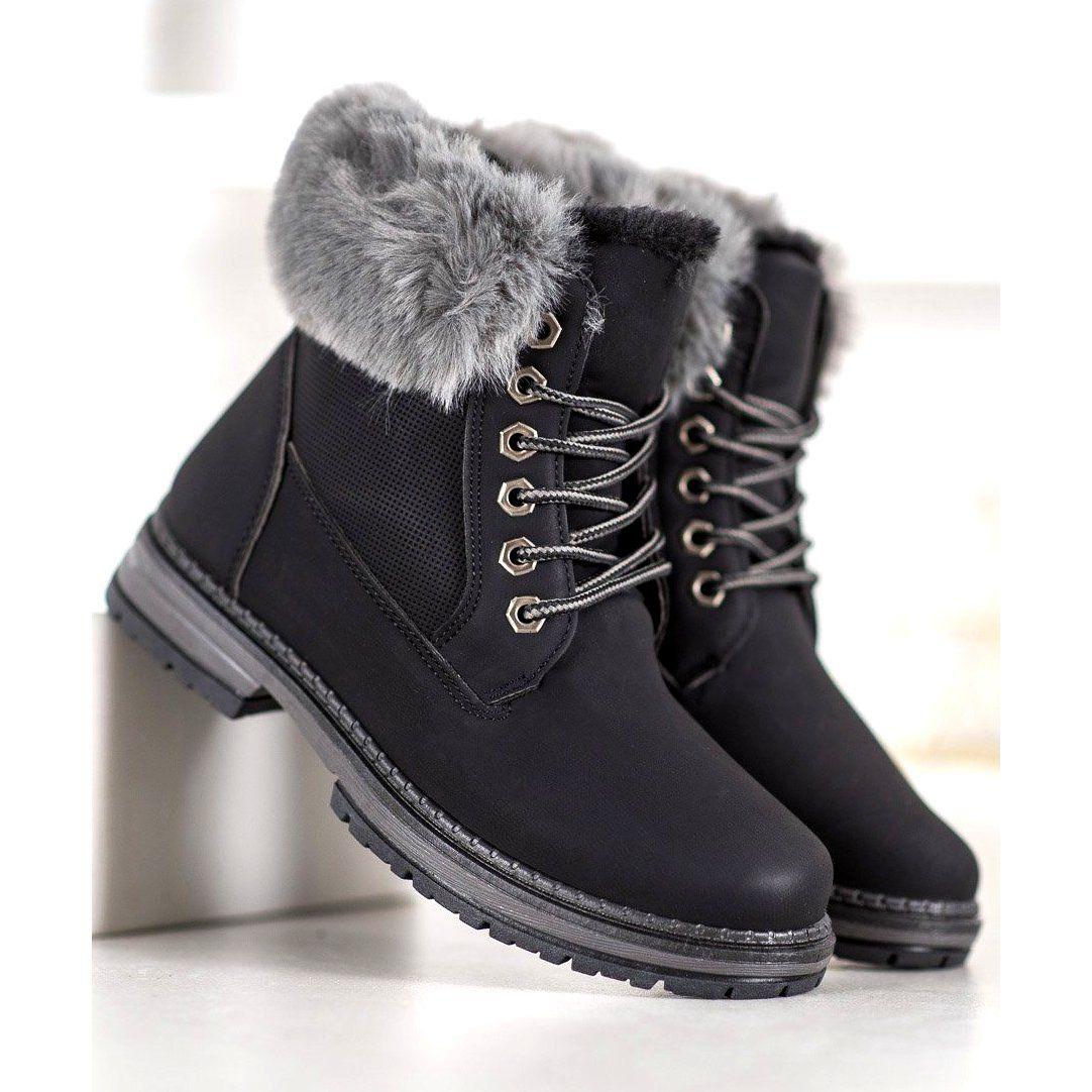 Shelovet Czarne Trapery Z Futerkiem Timberland Boots Winter Boot Shoes