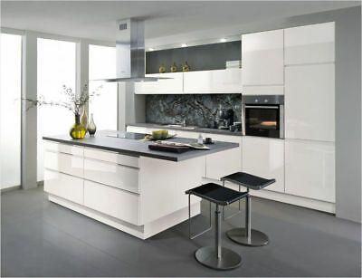 Inselkuche Einbaukuche Lack Front Hochglanz Grifflos Umplanung Moglich Ebay Moderne Kuche Wohnung Kuche Kuche