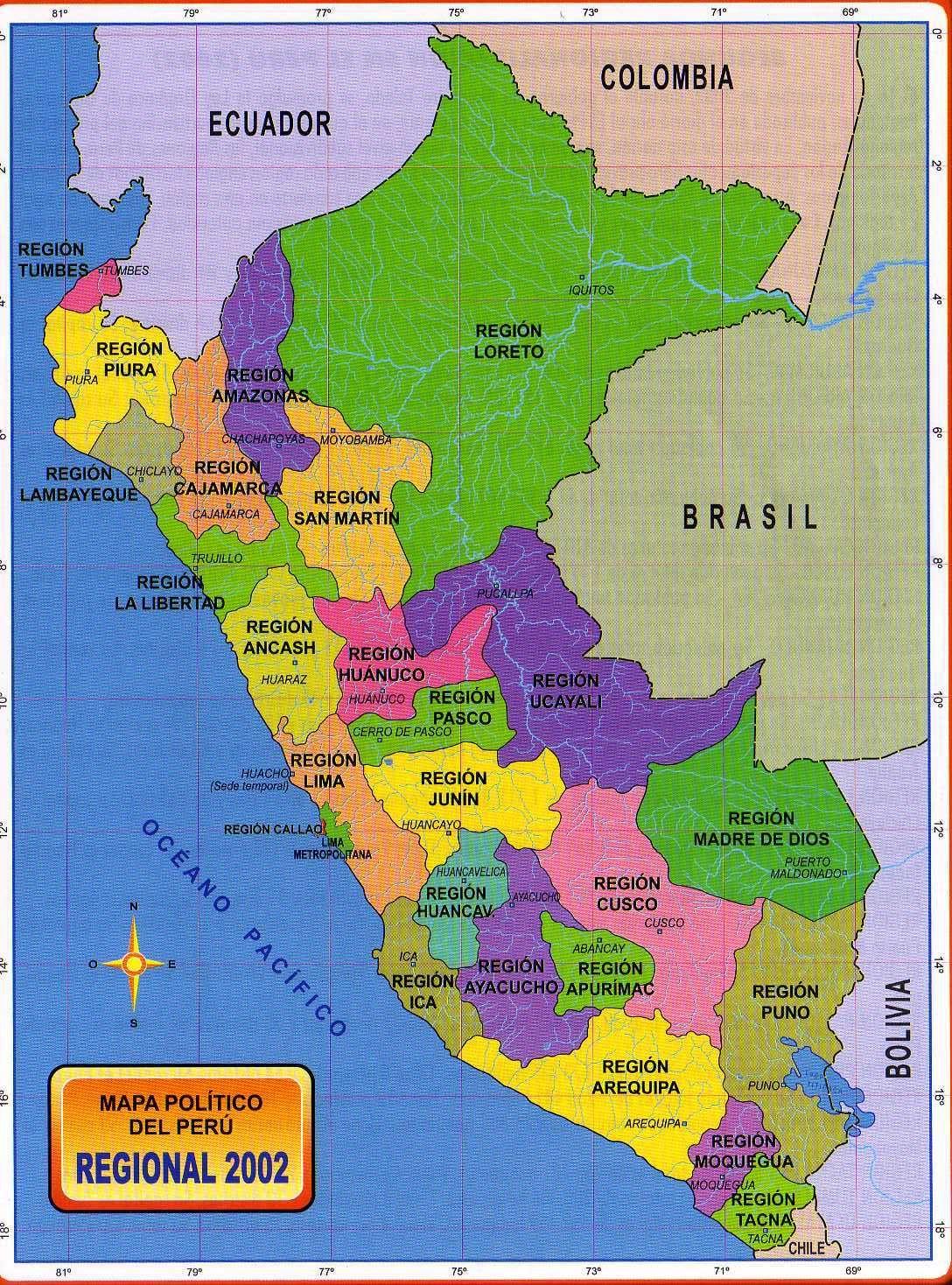 Para Mis Tareas Mapa Politico Del Peru Regional 2002 Region Peru Geography