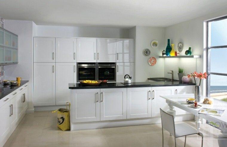 cocina clasica toques modernos armarios blancos ideas | Cocinas ...