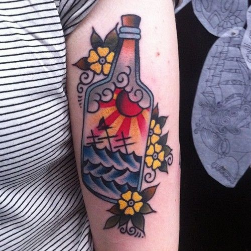 Traditional Ocean Bottle Tattoo Love The Sun Sky And Ocean Water