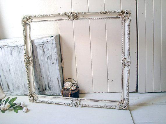 Rustic Farmhouse Cream Large Ornate Open Frame, Off White Vintage ...