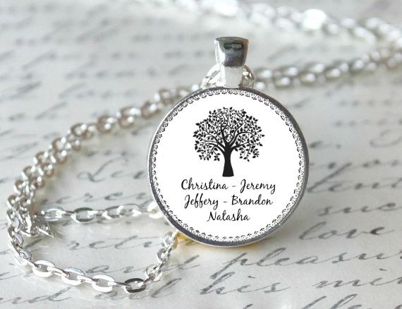 FAMILY TREE pendant, $12 with Children's names, Customized Charm for MOM