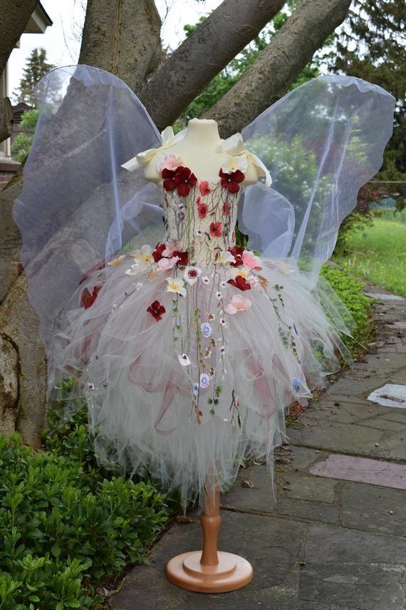 Adult Fairy tutu dressIvory flower fairy dresscostume Fairytale fairy wingsfairy birthdayfairy costume fairy festival costume dressAdult Fairy couture Tutu dress Perfect...
