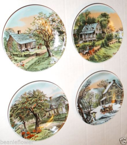 Small Decorative Plates Sets: Set Of 4 Currier Ives Miniature Homestead Four Seasons