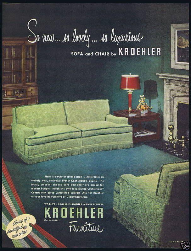 1949 Kroehler Furniture Sofa Chair Vintage Photo Print Ad Ebay