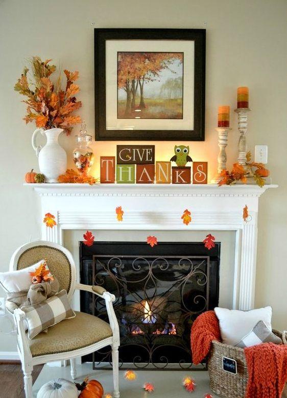 Herbststimmung, Herbst Dekoration, Jahreszeiten, Balkon, Einrichtung,  Herbst Kaminsims, Kerzen In Kamin, Kamin Mantel Dekorationen, Halloween  Kamin