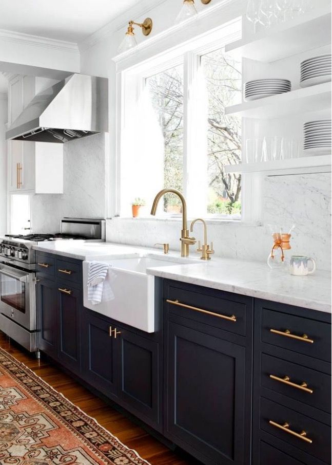 Striking Dark Navy Blue Almonds St Black Cabinets With Marble And