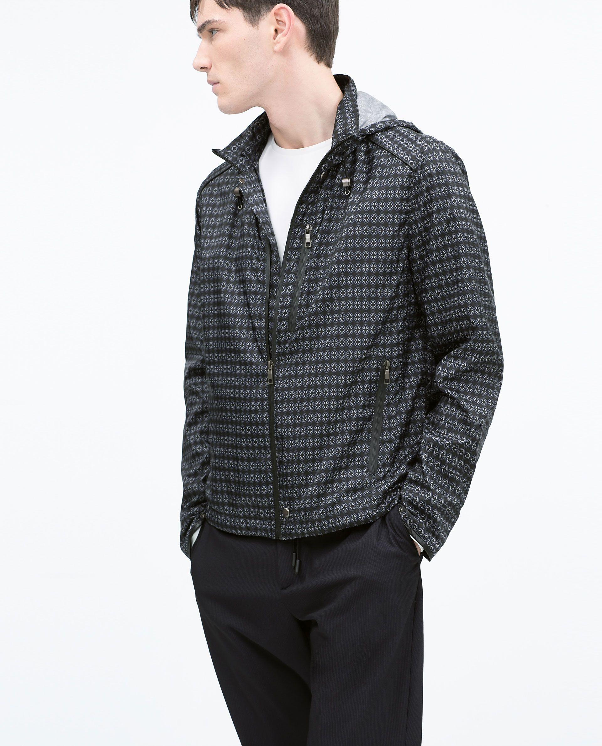 Zara Grey Tie Print Jacket Jackets, Print jacket