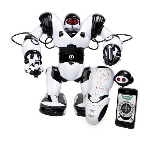 WowWee Robosapien X Humanoid Toy Robot with Remote Control - 10 Year Anniversary Special Edition with IR Dongle for iOS or Android device by WowWee, http://www.amazon.ca/dp/B00CC52O4Q/ref=cm_sw_r_pi_dp_K8UTsb1V7HVBB