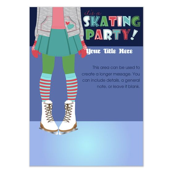 invite and ecard design Party Ideas Pinterest Ice skating