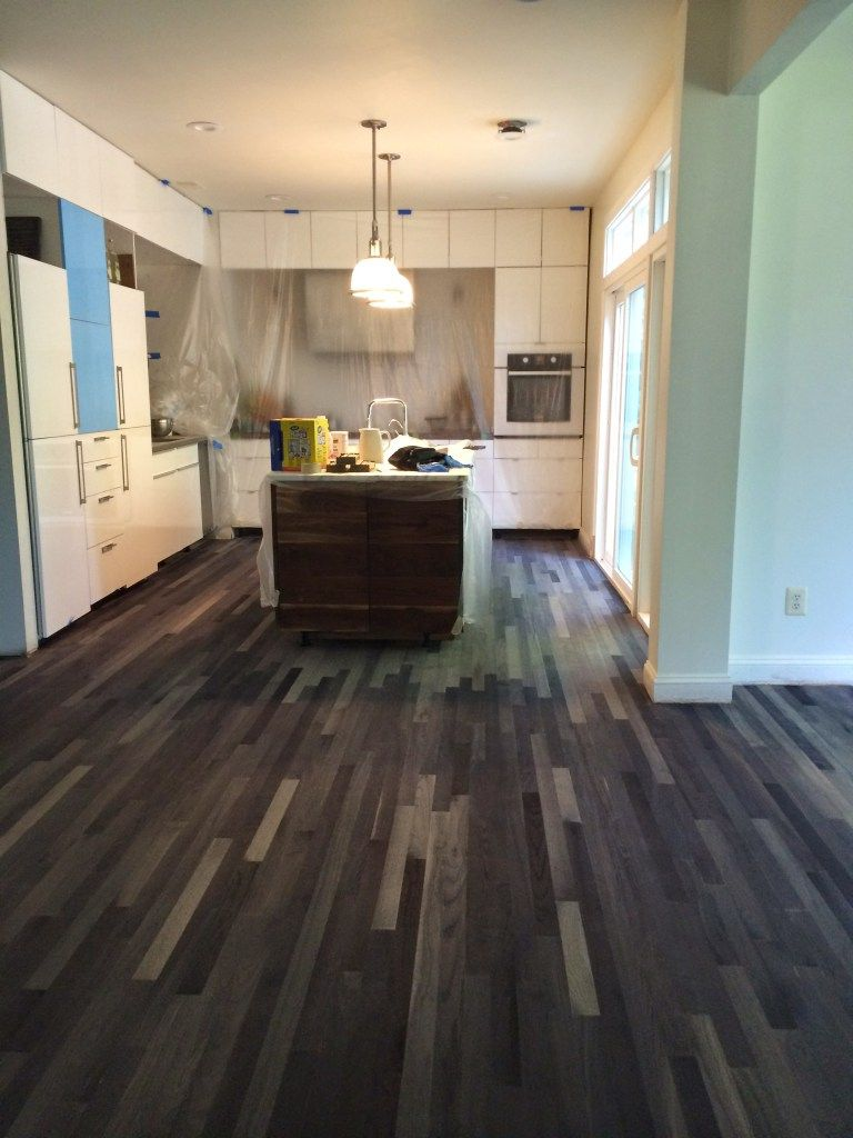 Ebonized Wood Floor Before Topcoat In 2019 Red Oak Floors Steel Wool