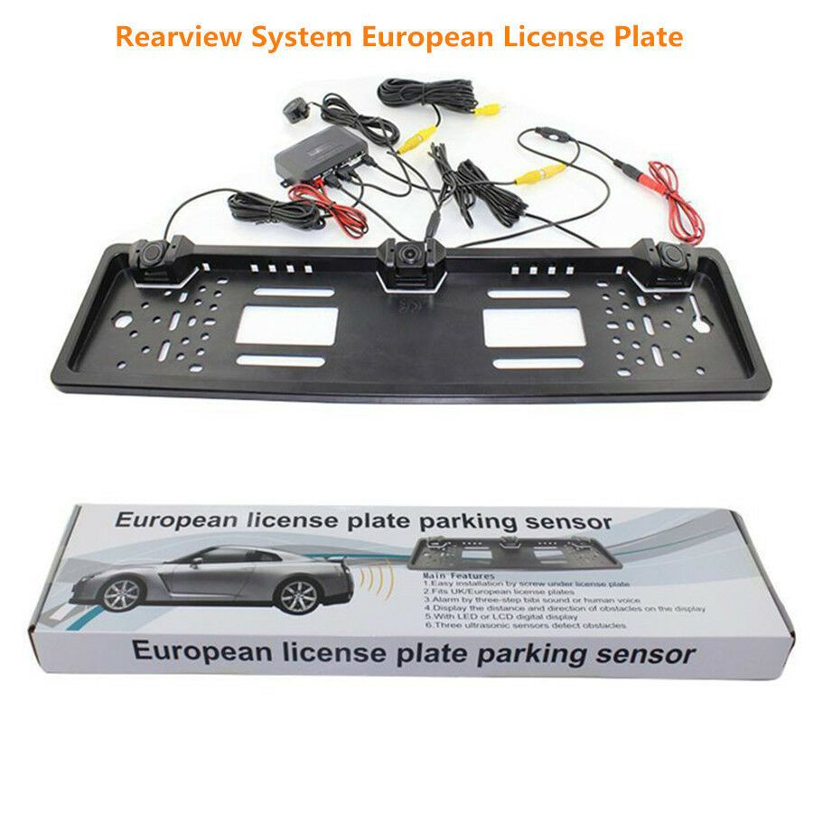 EU Car License Rearview Camera Plate Frame 2 Reversing Radar Parking Sensors