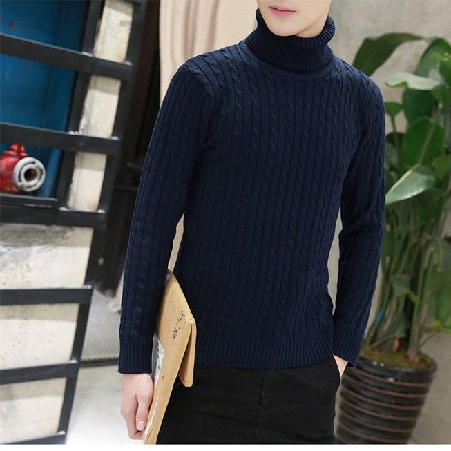 2017 Sexemara Sweater Brand New Pullovers Casual Sweater Male Turtleneck Multi-Color Slim Fit Knitting Mens Sweaters Man