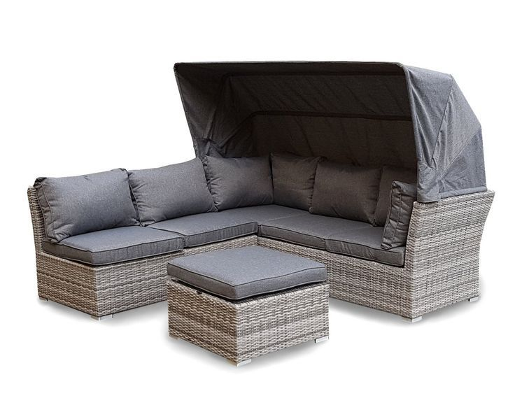 Lounge sofa garten grau  Strandkorb Lounge Palma Cabrio Sofa Alu Geflecht 5tlg. grau ...