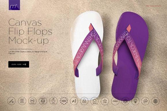 3afe3923bad2 Canvas Flip Flops Mock-up by mesmeriseme.pro on  creativemarket ...