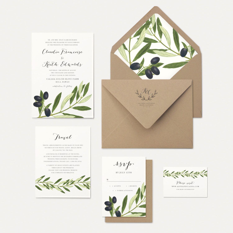 Olive Branch Wedding Invitation Olive Leaves Envelope Liner Rustic ...