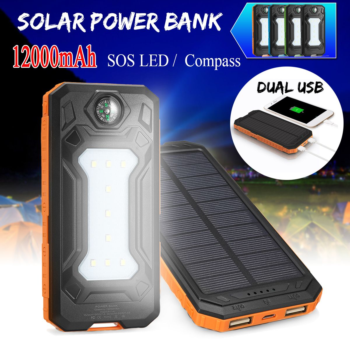12000mah Solar Power Bank Battery Fast Charger Dual Usb Sos Led Light Compass Banggood 12000mah Solar Power B