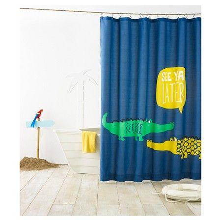 Alligator Shower Curtain Blue Pillowfort Target Kids Shower