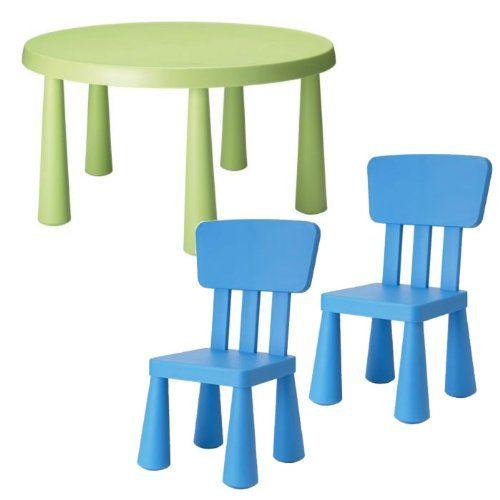 Ikea Mammut Childrenu0027s 3 Pcs, Dark Green Table And 2 Dark Blue Chairs Set  Ikea