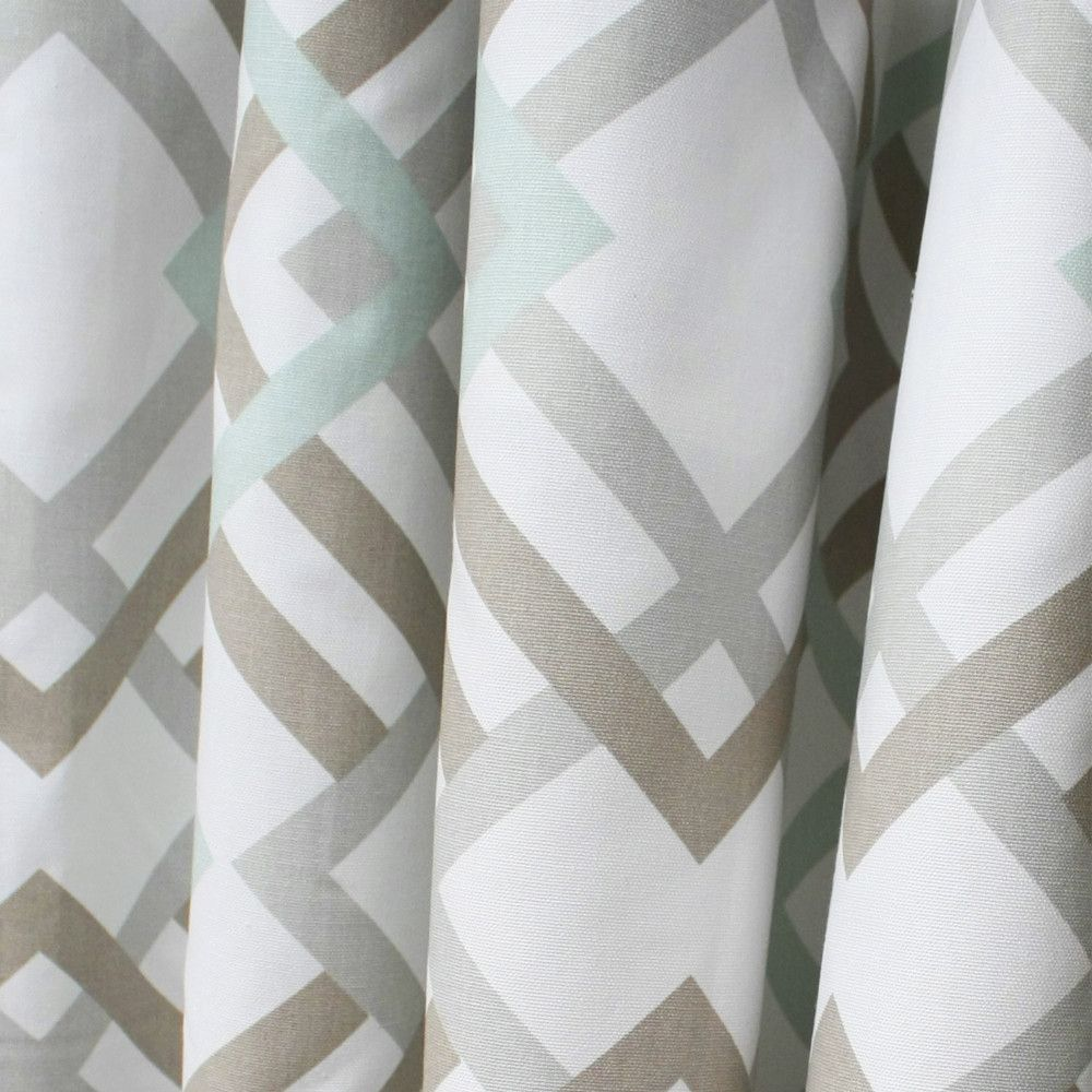 A Fresh Geometric Lattice Fabric In Soft Grey And A Soft Taupe Grey Beige And Robins Egg Blue
