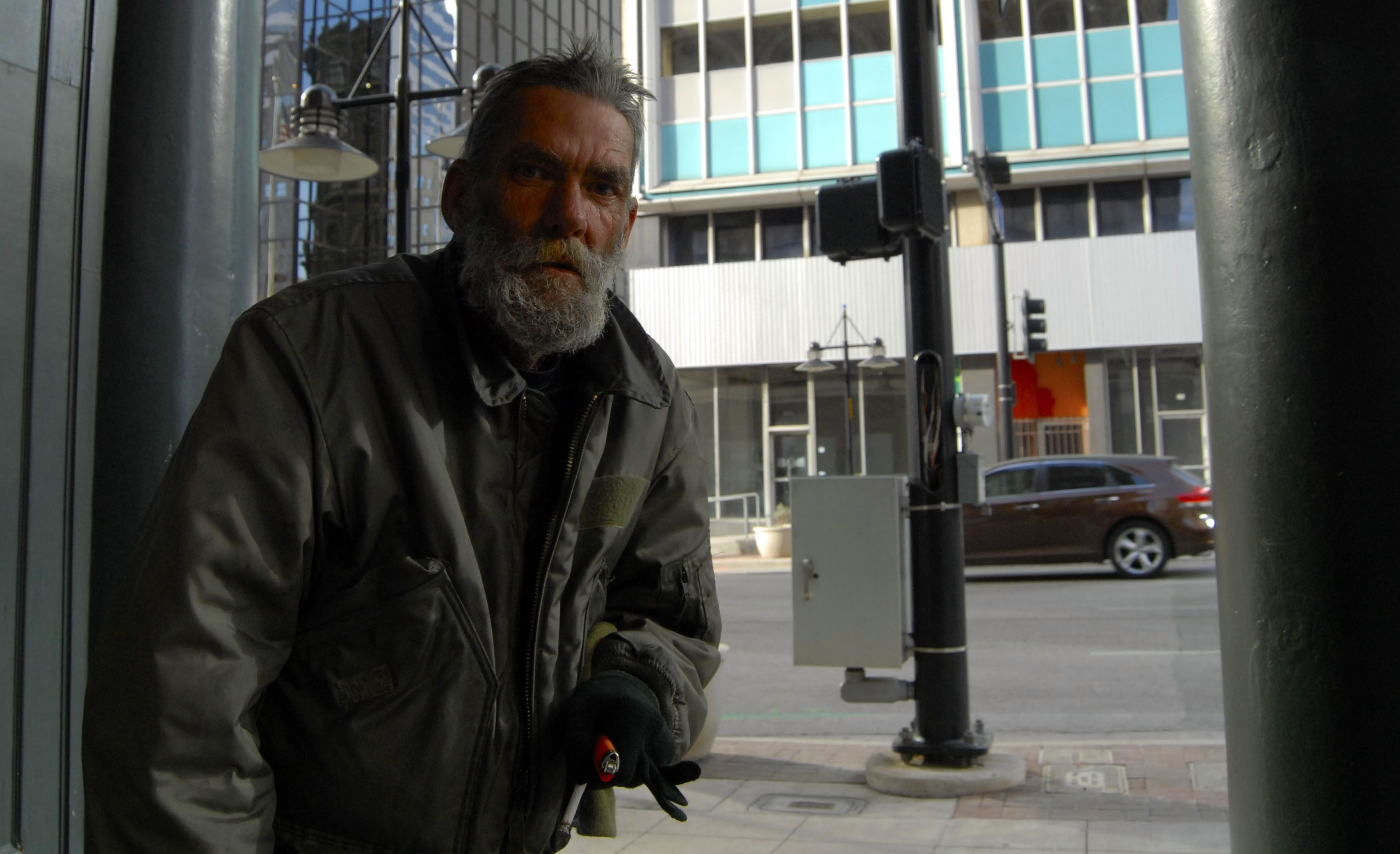 Davey drew a homeless photographer in downtown dallas