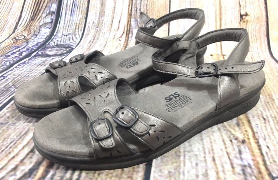 66d7015449eb SAS Tripad Comfort Sandals Sz 9 Silver Metallic Leather Buckle Strap Made  in USA  SAS  AnkleStrap  Casual  MadeinUSA  Comfrot  Sandals
