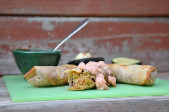 baked chipotle chicken eggrolls...best dinner i've had in a long time!