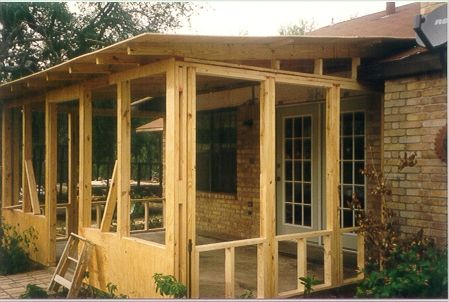 Screened porch w shed roof plans project plan 90012 this for Shed roof screened porch plans