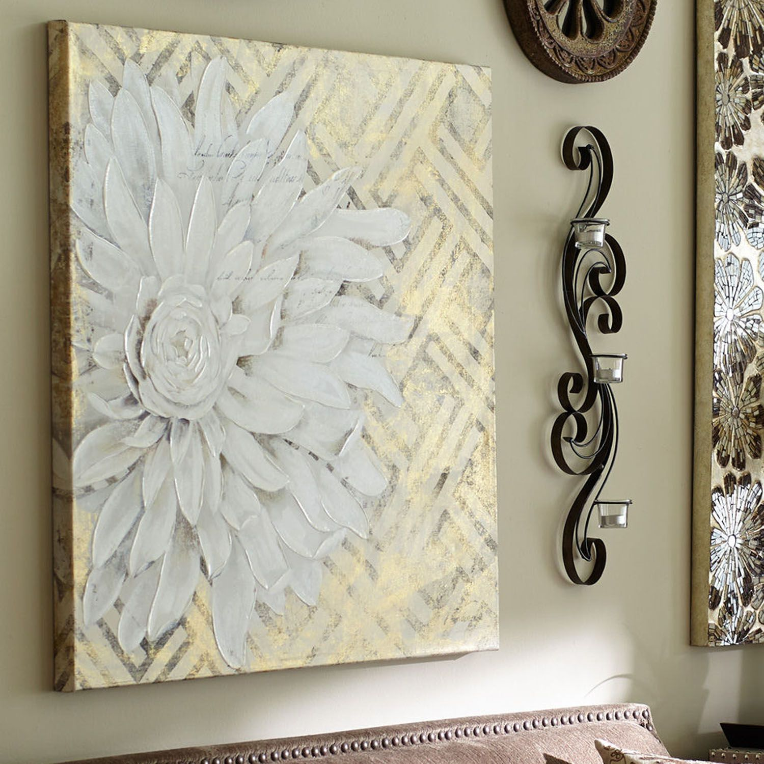 "Floral Lattice Art - White | Pier 1 Imports 36"" by 36"" w  mother's suite  149.95"