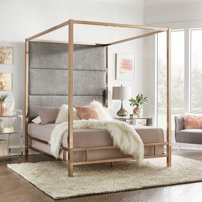 Full Evert Champagne Gold Canopy Bed With Panel Headboard Smoke Inspire Q Canopy Bed Frame Black Canopy Beds White Headboard