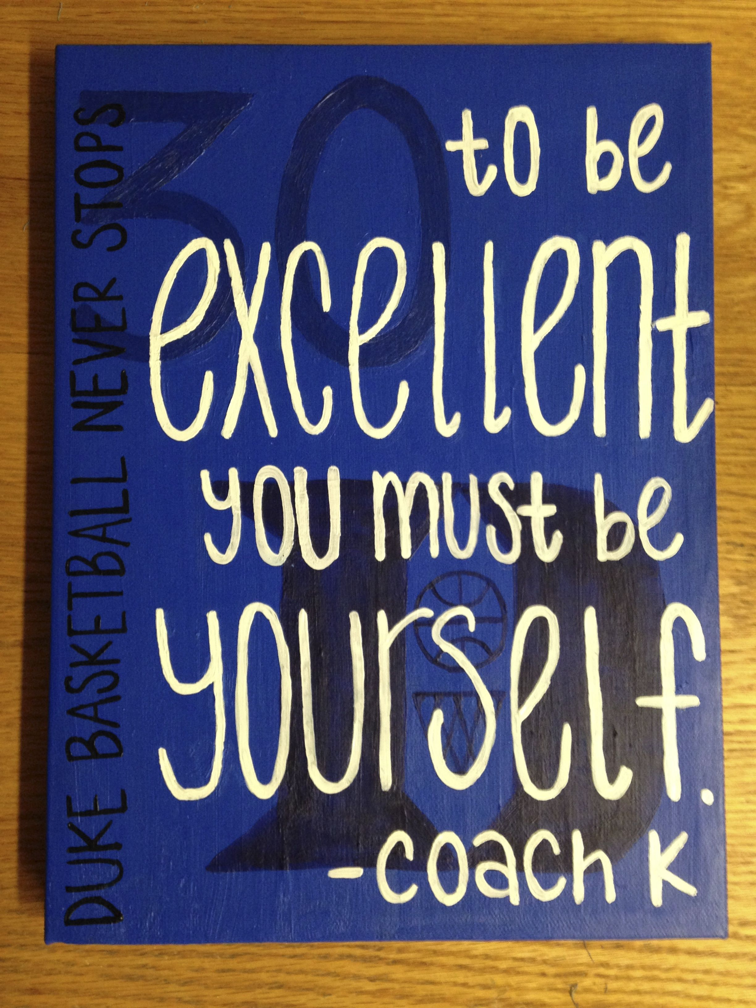 Duke Basketball Canvas Art With A Coach K Quote To Be