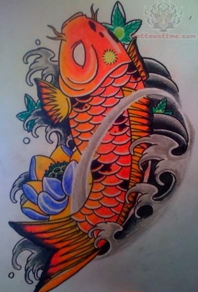 Color Koi Fish Tattoo Design Metal Inlays Koi Fish Tattoo Fish