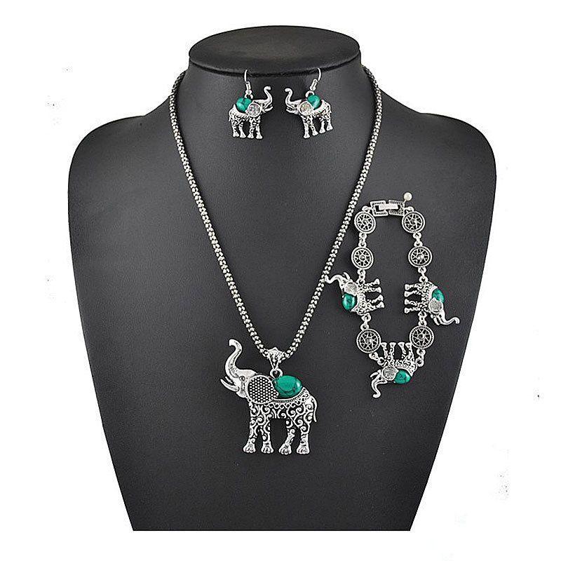 3PCS Vintage Turquoise Elephant Pendant Necklace Earrings Bracelet Set Jewelry