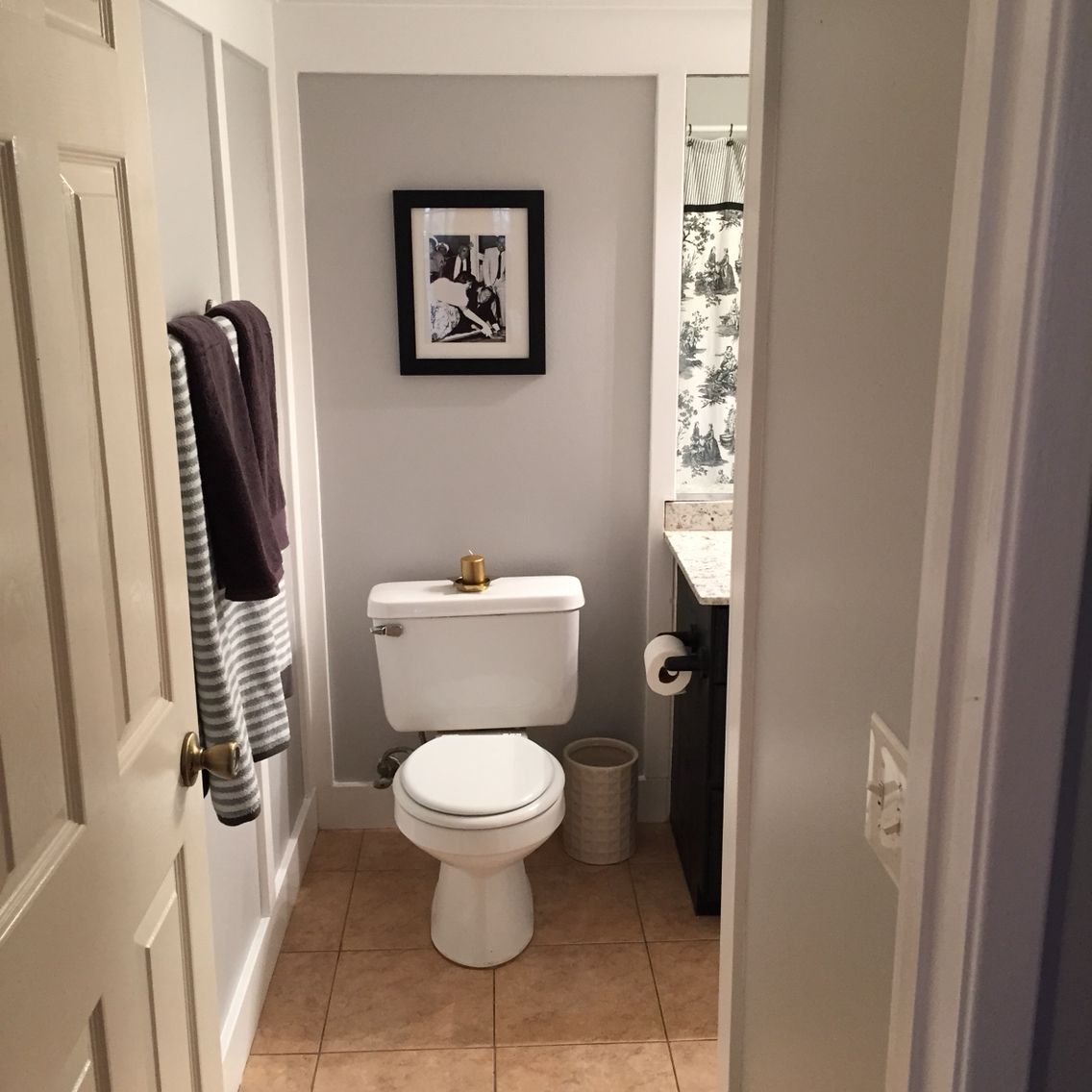 gray white black bathroom entry mixed metal touches on best paint colors for bathroom with no windows id=62298