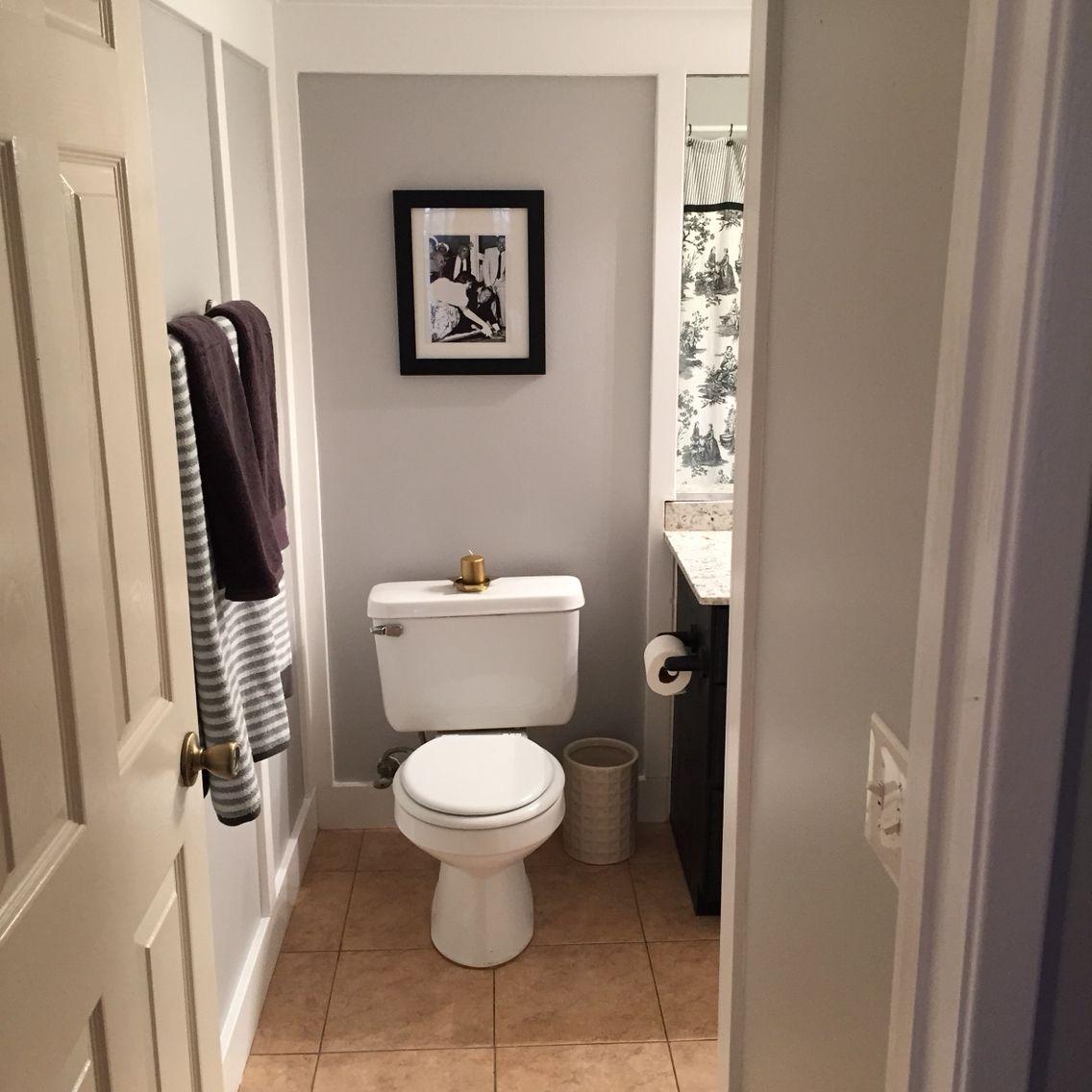 Bathroom Lighting No Window gray/white/black bathroom entry mixed metal touches help a