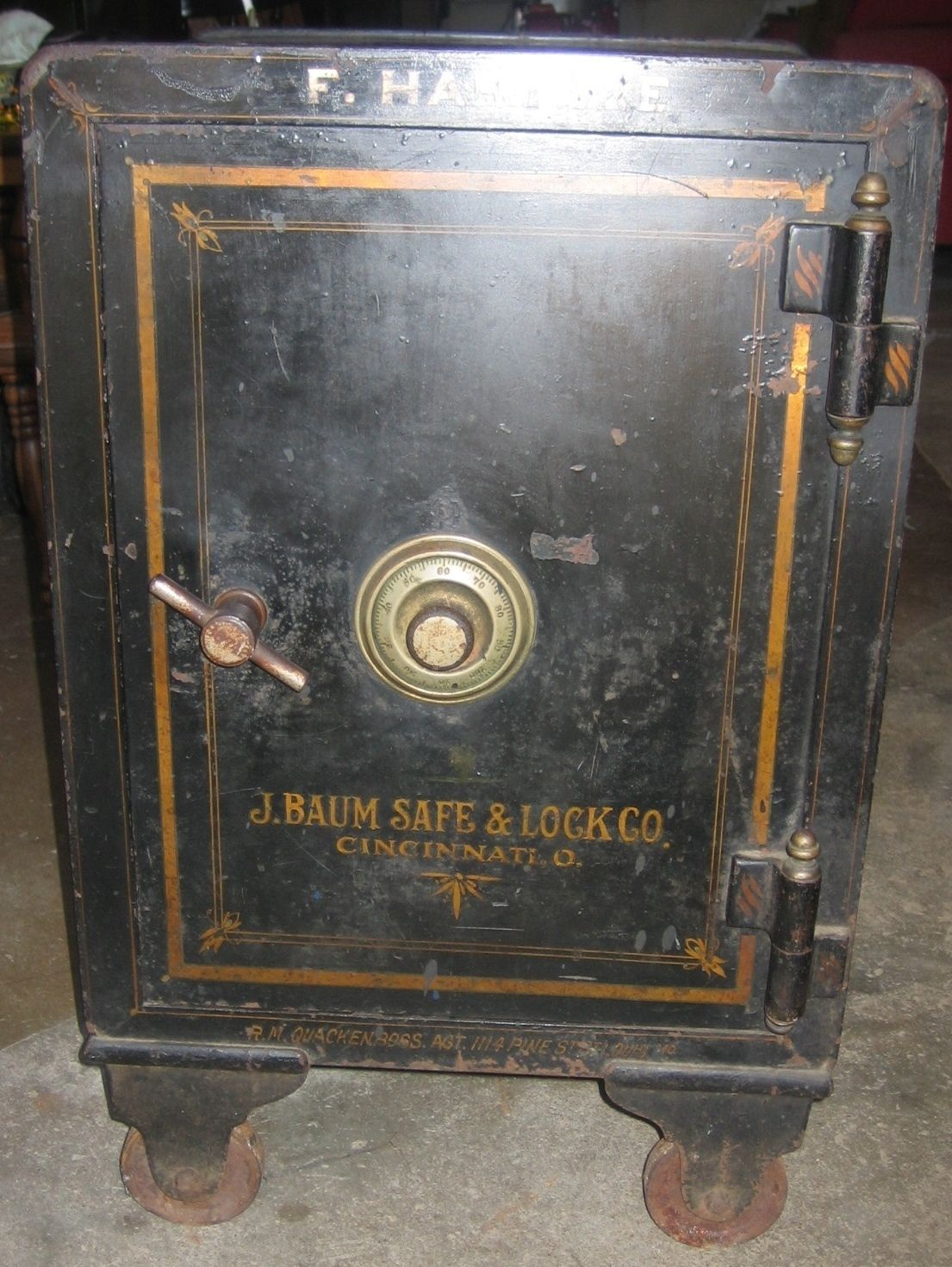 Vintage J Baum Safe Lock Co Floor Safe Early 1900 S Combination