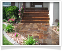 Stamped concrete. Concrete walkway.