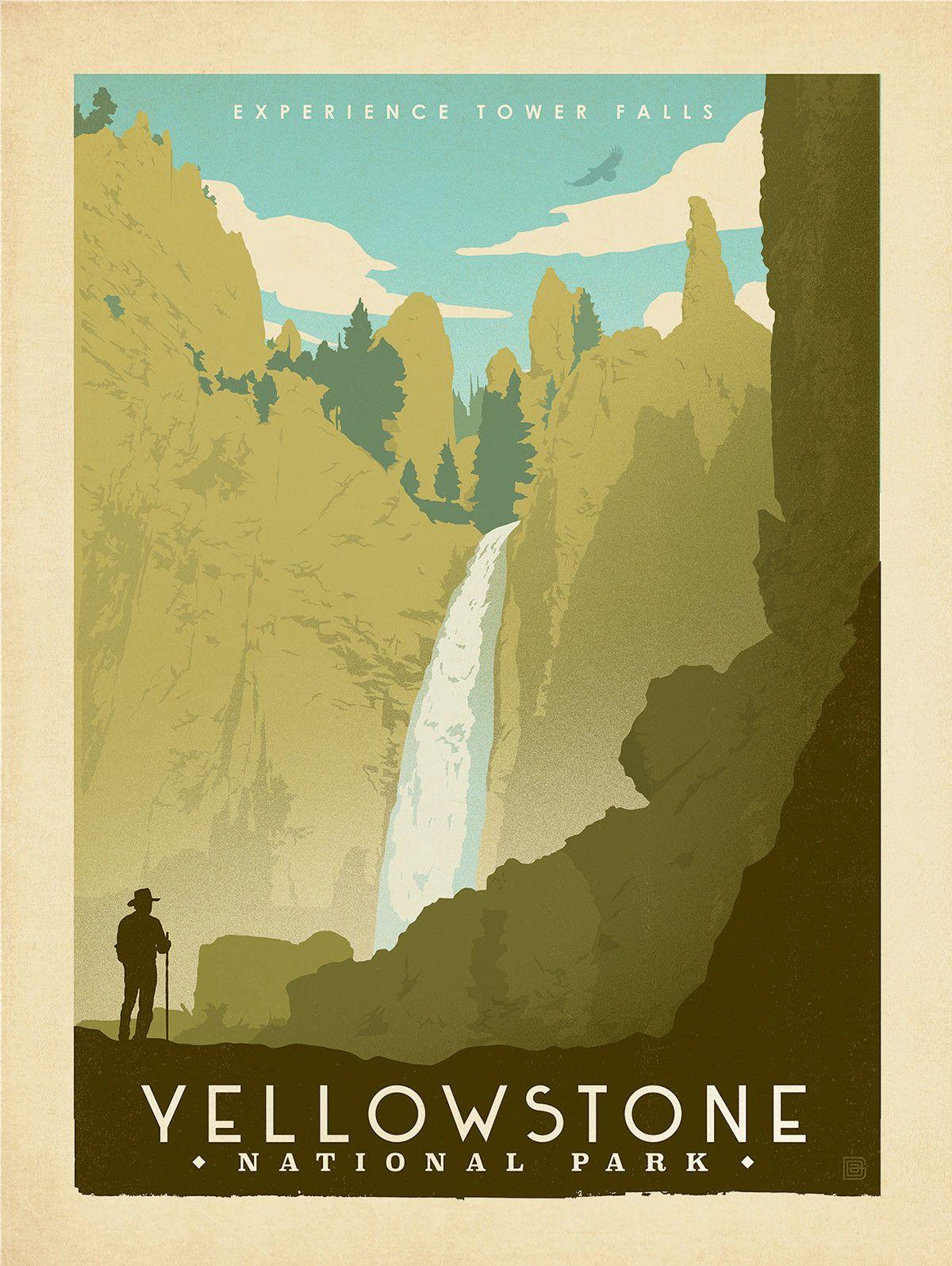 Yellowstone Falls Print National Park Posters Vintage Travel Posters Travel Posters