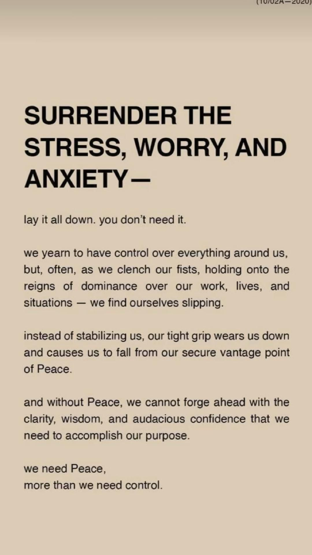 Surrender stress worry and Anxiety